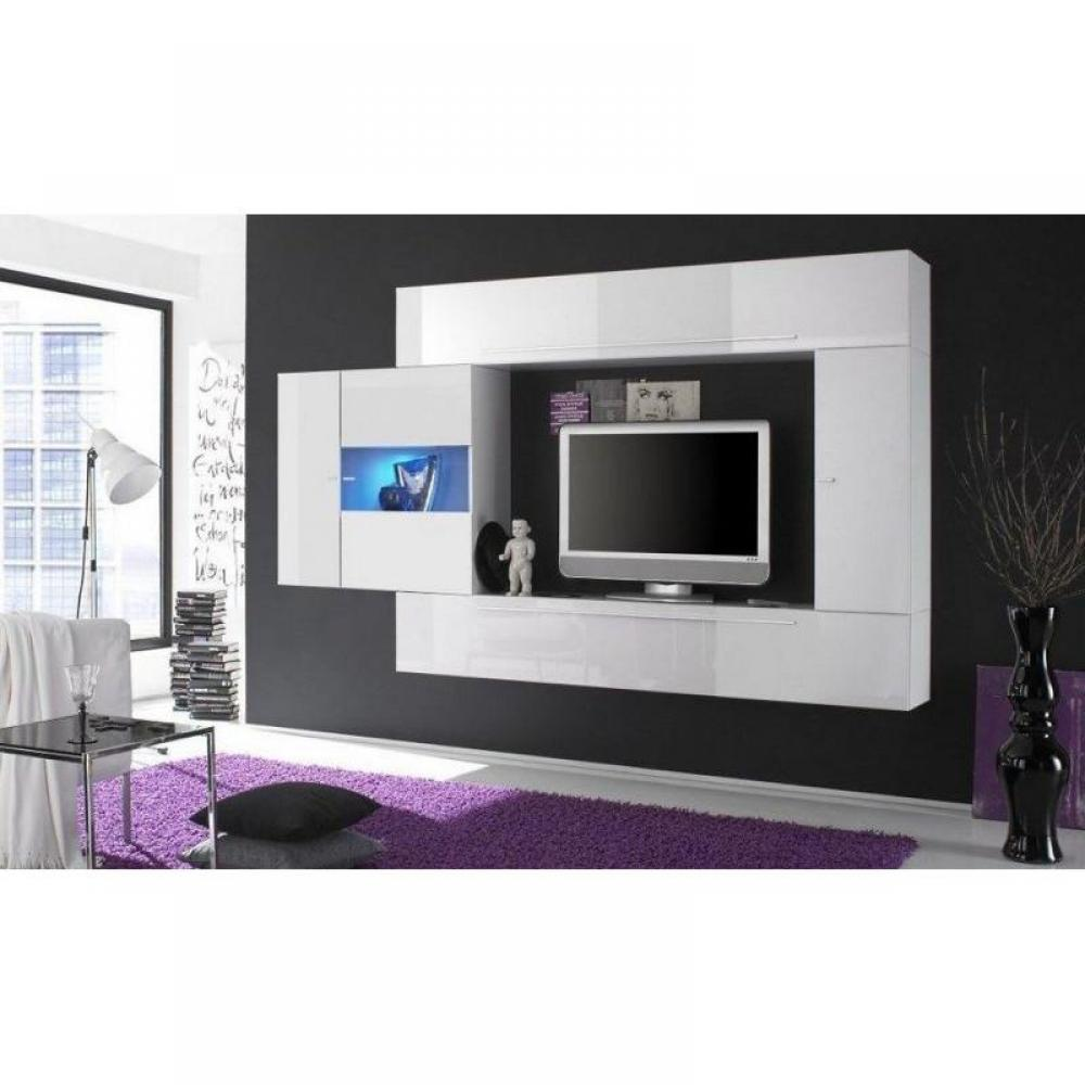 meubles tv meubles et rangements composition murale tv design primera 4 blanc brillant inside75. Black Bedroom Furniture Sets. Home Design Ideas