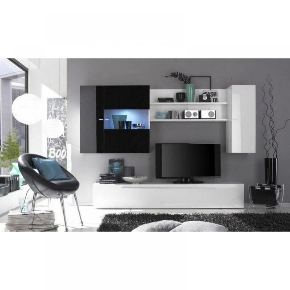 ensemble mural tv meubles et rangements composition murale tv design primera noir et blanc. Black Bedroom Furniture Sets. Home Design Ideas