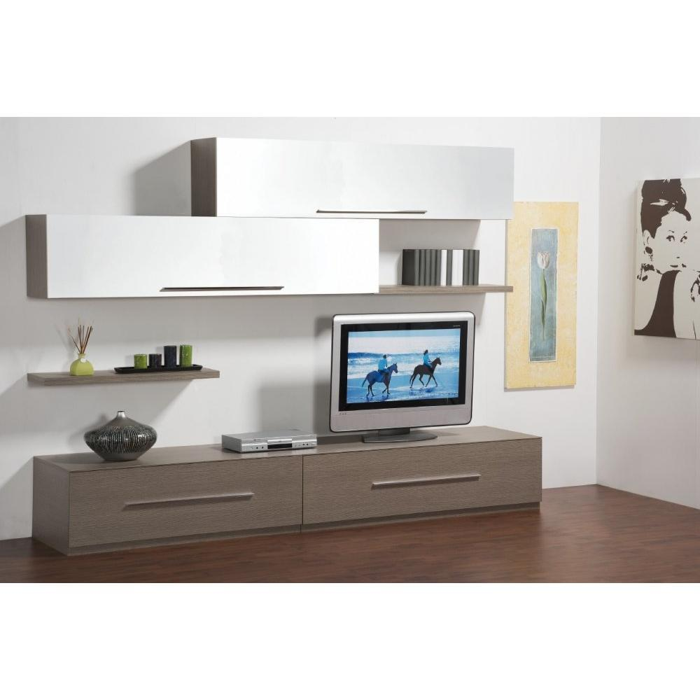 meubles tv meubles et rangements composition murale tv lenis design noyer et blanche inside75. Black Bedroom Furniture Sets. Home Design Ideas