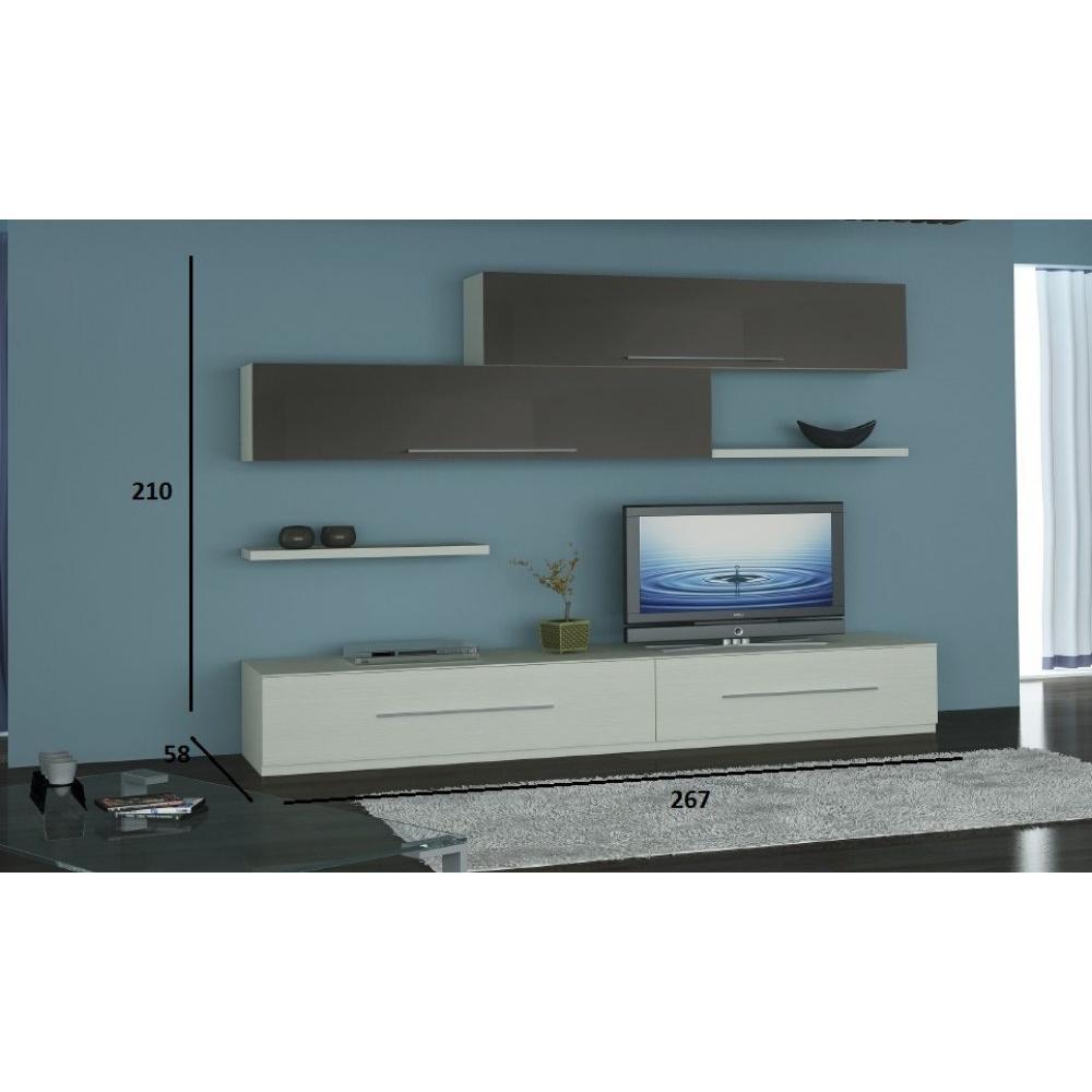 Ensemble mural tv meubles et rangements composition murale tv lenis ch ne b - Composition murale tv ...