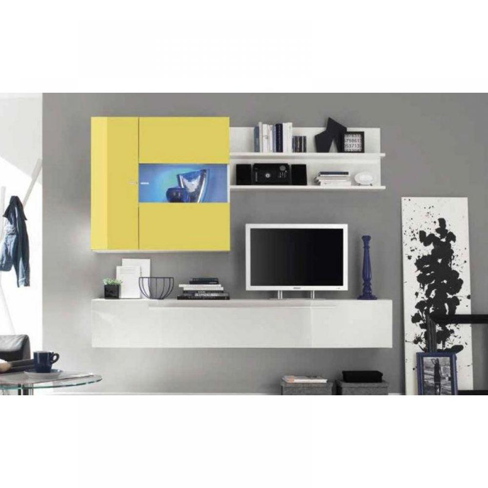 meubles tv meubles et rangements composition murale tv design primera 2 blanc et jaune inside75. Black Bedroom Furniture Sets. Home Design Ideas