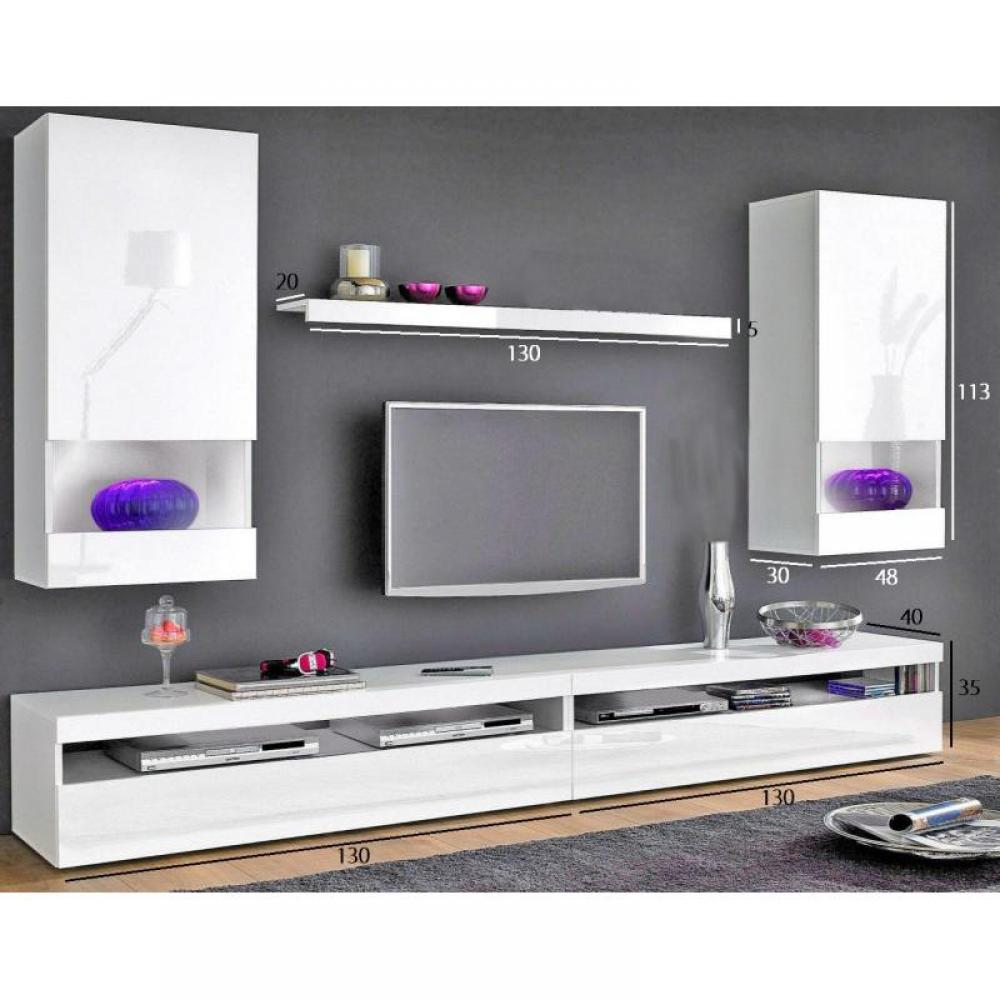 meubles tv meubles et rangements composition murale tv 5 pi ces burrata laqu blanche inside75. Black Bedroom Furniture Sets. Home Design Ideas