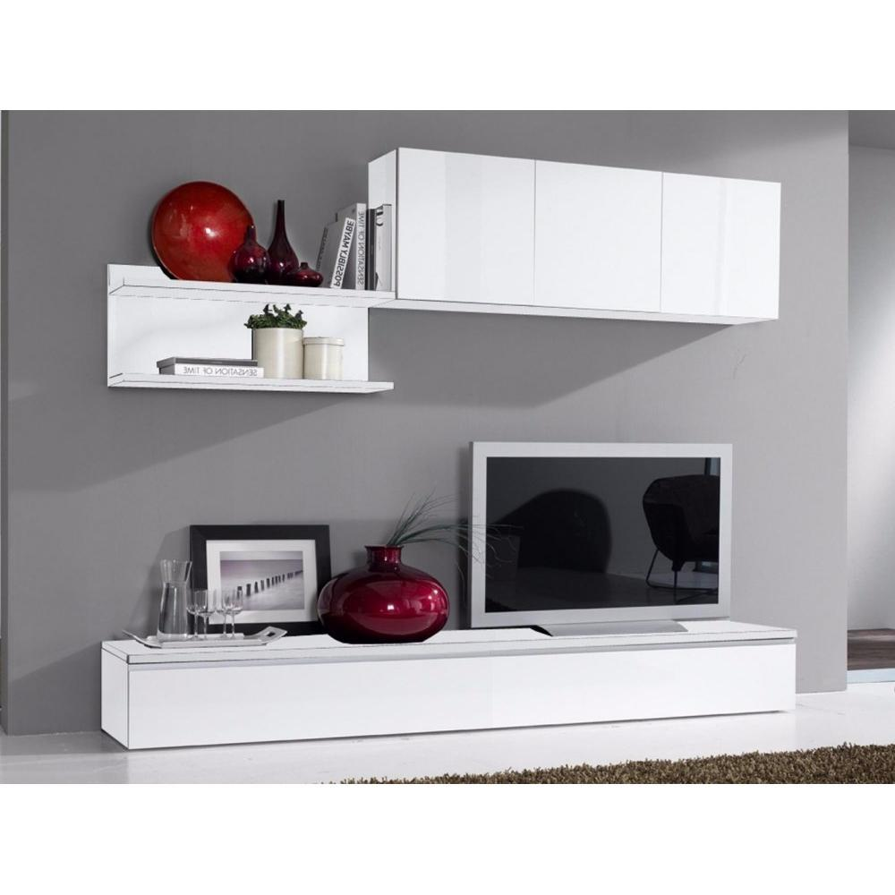 meubles tv meubles et rangements composition murale tv design fortino blanche inside75. Black Bedroom Furniture Sets. Home Design Ideas