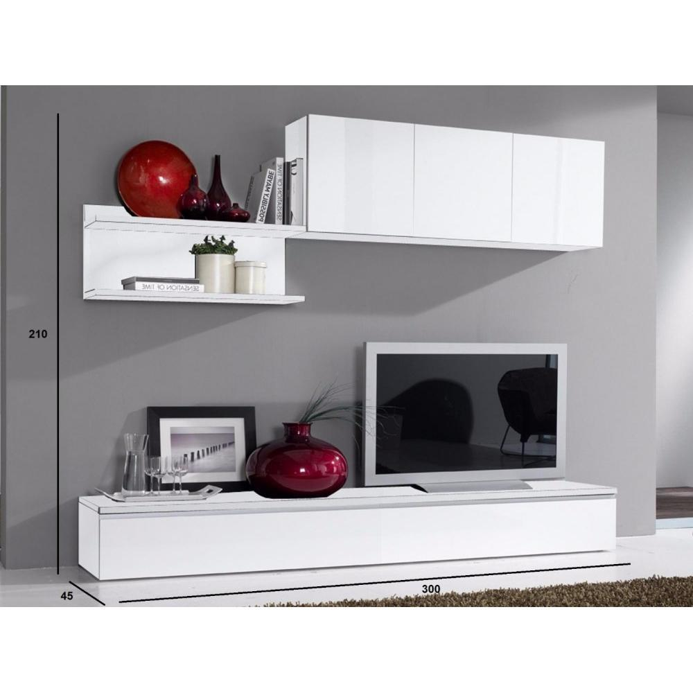 ensemble mural tv meubles et rangements composition murale tv design fortino blanche inside75. Black Bedroom Furniture Sets. Home Design Ideas