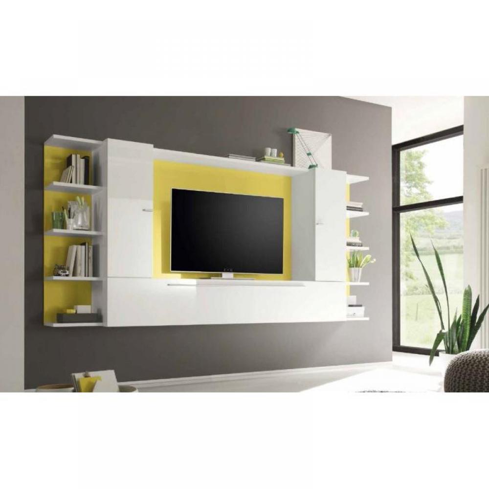 Ensemble mural tv meubles et rangements composition tv for Meuble mural jaune
