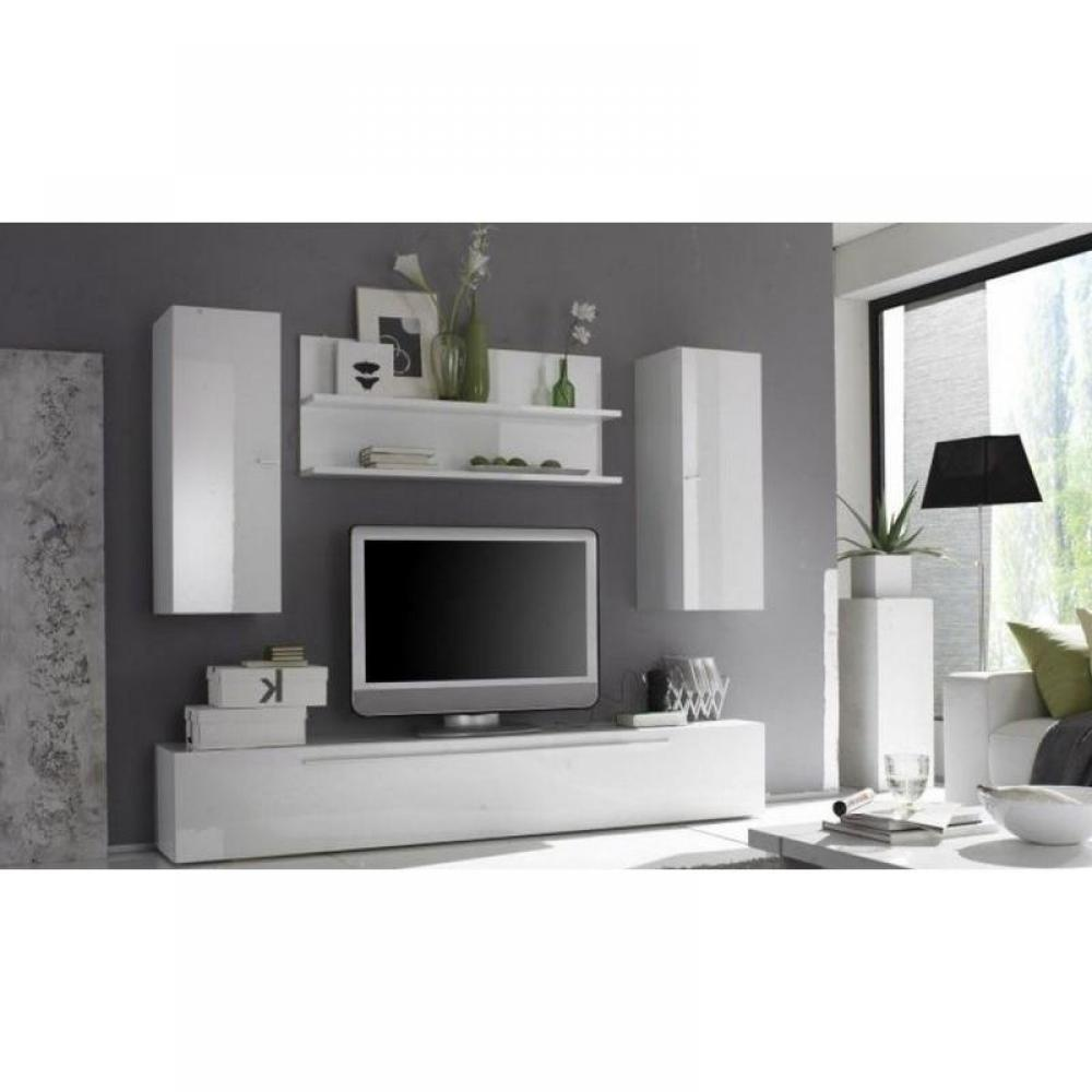 Meuble tv mural blanc laque for Meuble mural laque brillant design