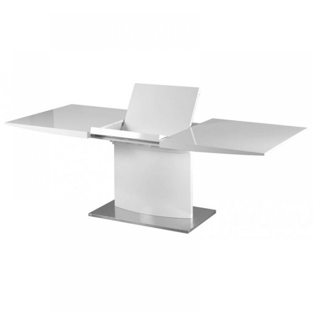 Table extensible blanc design table de lit - Table console extensible blanc laque design ...