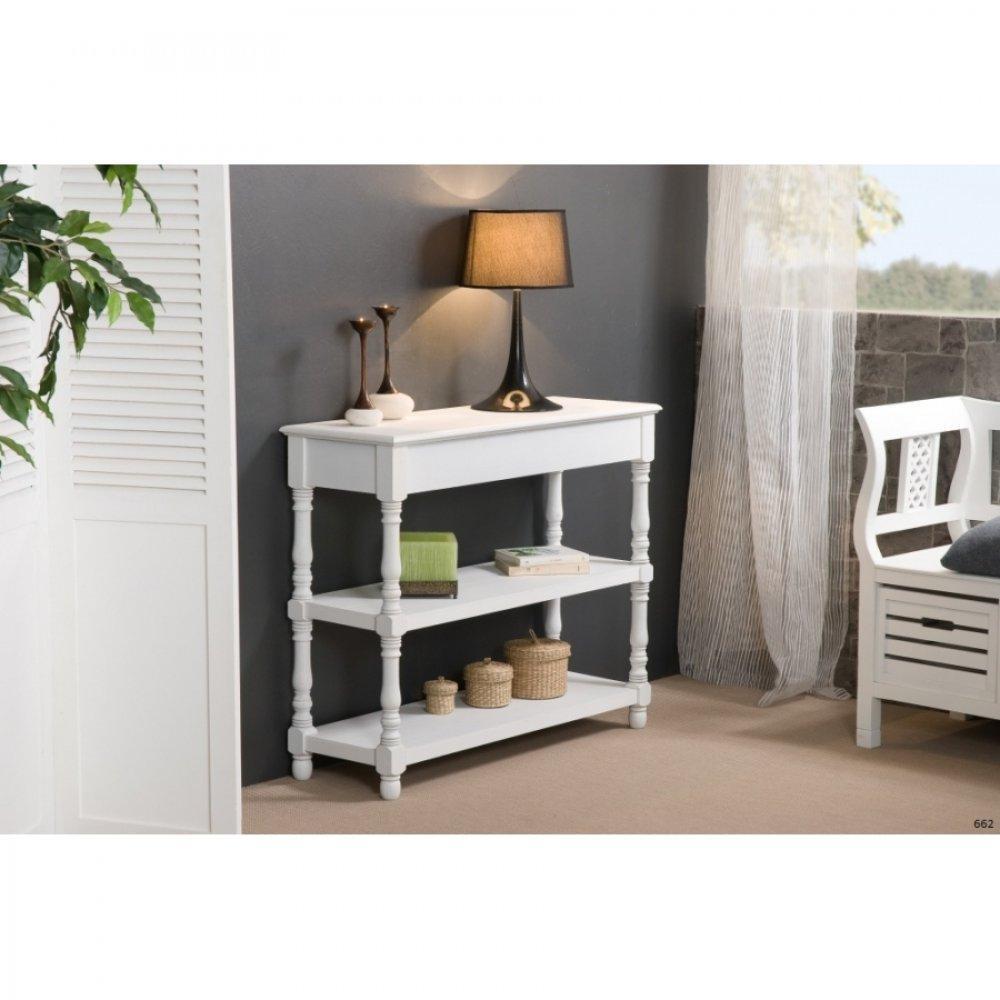 Consoles tables et chaises console fixe 2 etag res eva en bois blanc style - Console style colonial ...