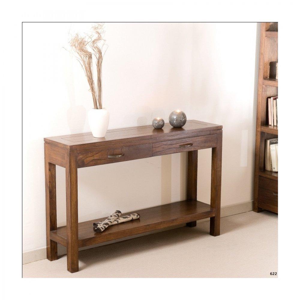 Consoles, tables et chaises, Console design moderne 2 tiroirs LAURA en mindi