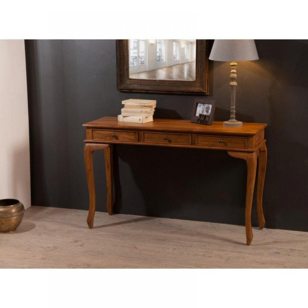 Consoles tables et chaises console galbee 3 tiroirs en teck massif style co - Console style colonial ...