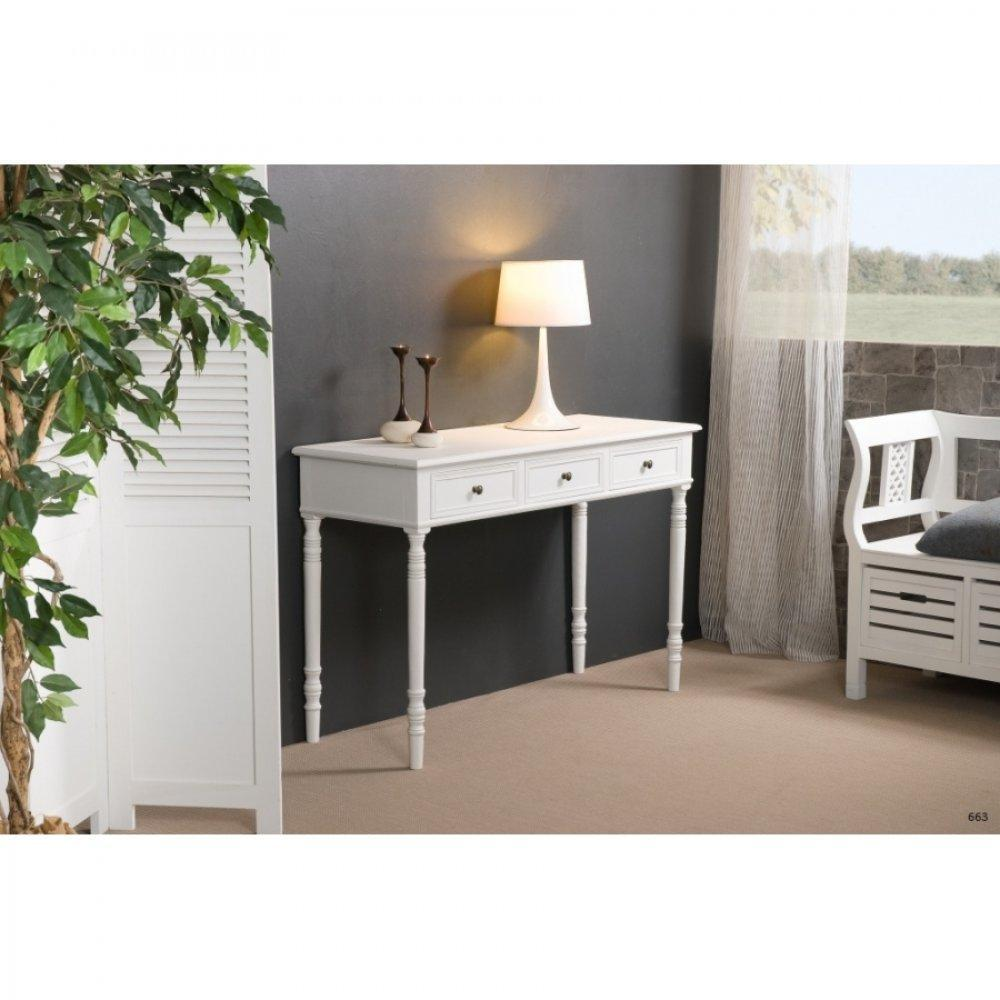 consoles tables et chaises console fixe 3 tiroirs eva en bois blanc style charme colonial. Black Bedroom Furniture Sets. Home Design Ideas