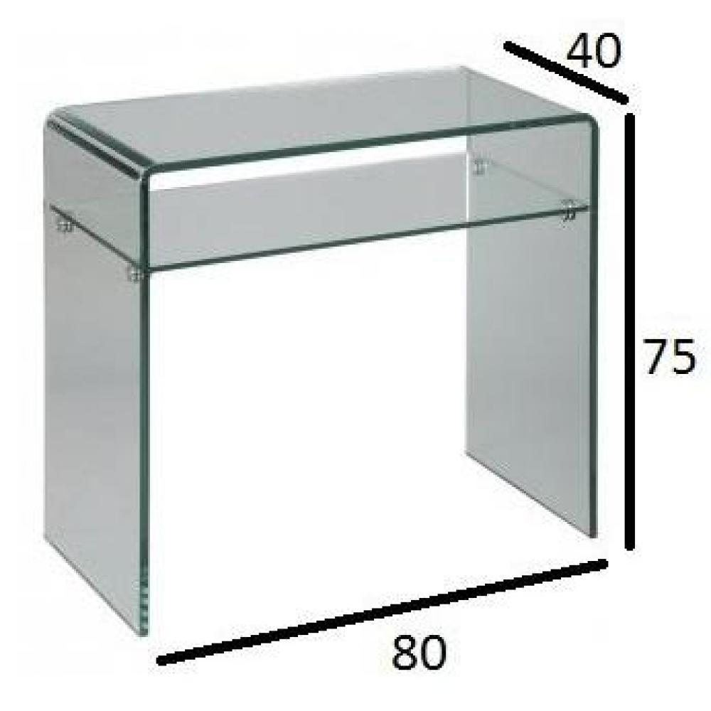 Consoles tables et chaises console en verre cristal for Portillon largeur 80 cm