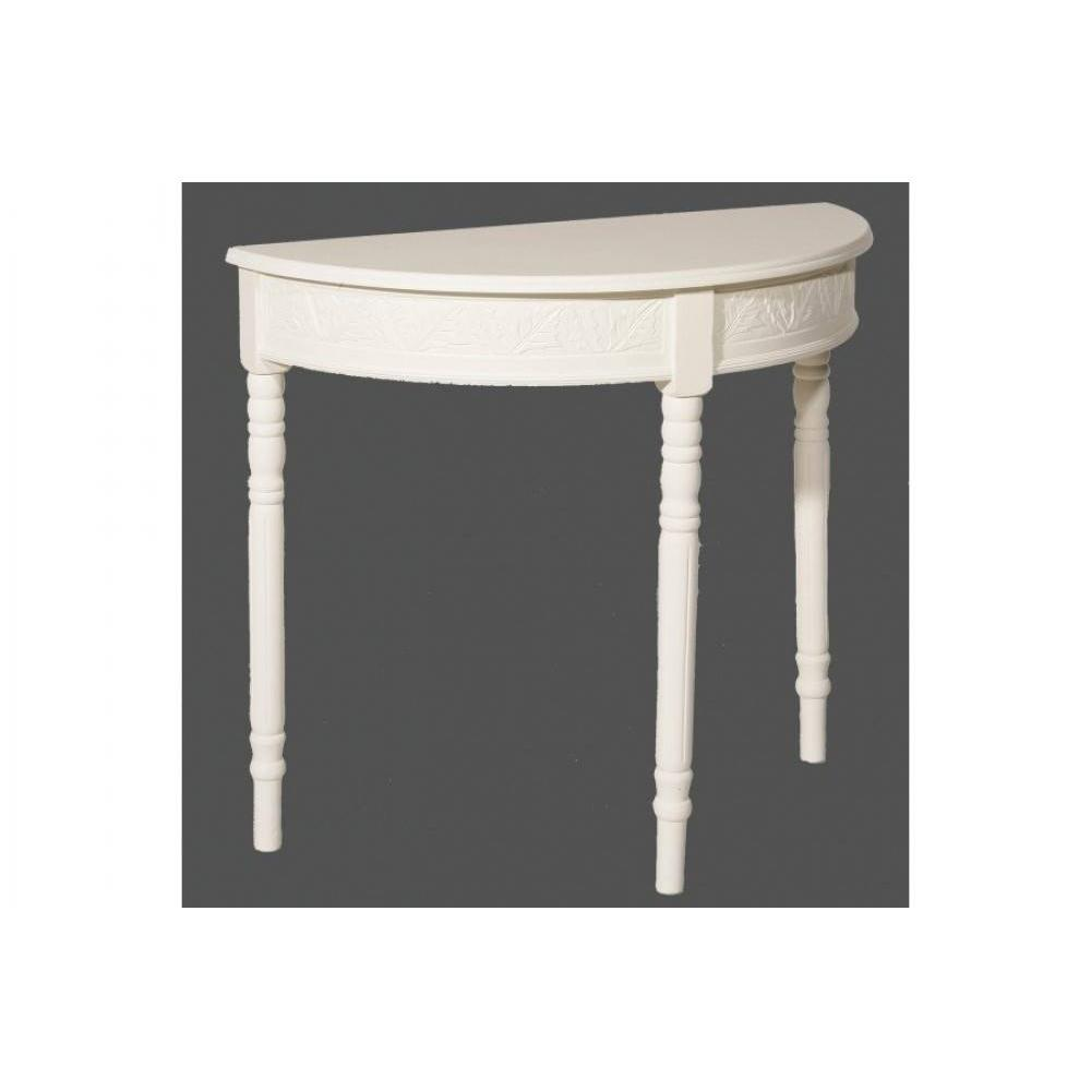 consoles tables et chaises console demi lune blanche louise en bois de zelkova style campagne. Black Bedroom Furniture Sets. Home Design Ideas