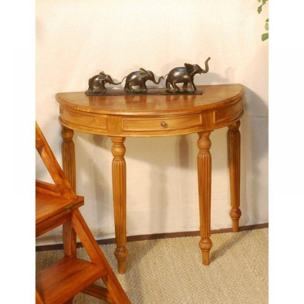 consoles tables et chaises console fixe demi lune en teck massif style colonial inside75. Black Bedroom Furniture Sets. Home Design Ideas