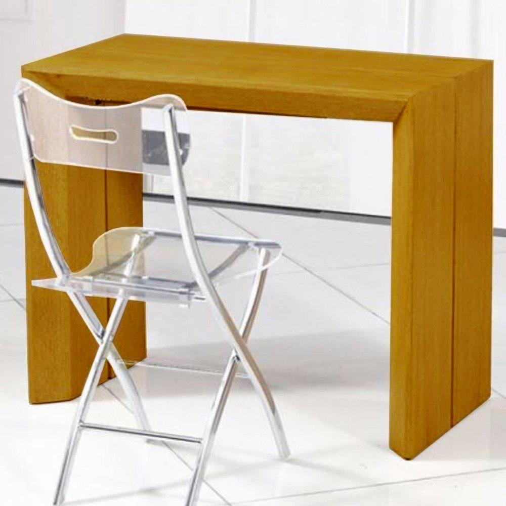 Console extensible en table repas EXTENSO DELUXE bois chêne clair 12 couverts