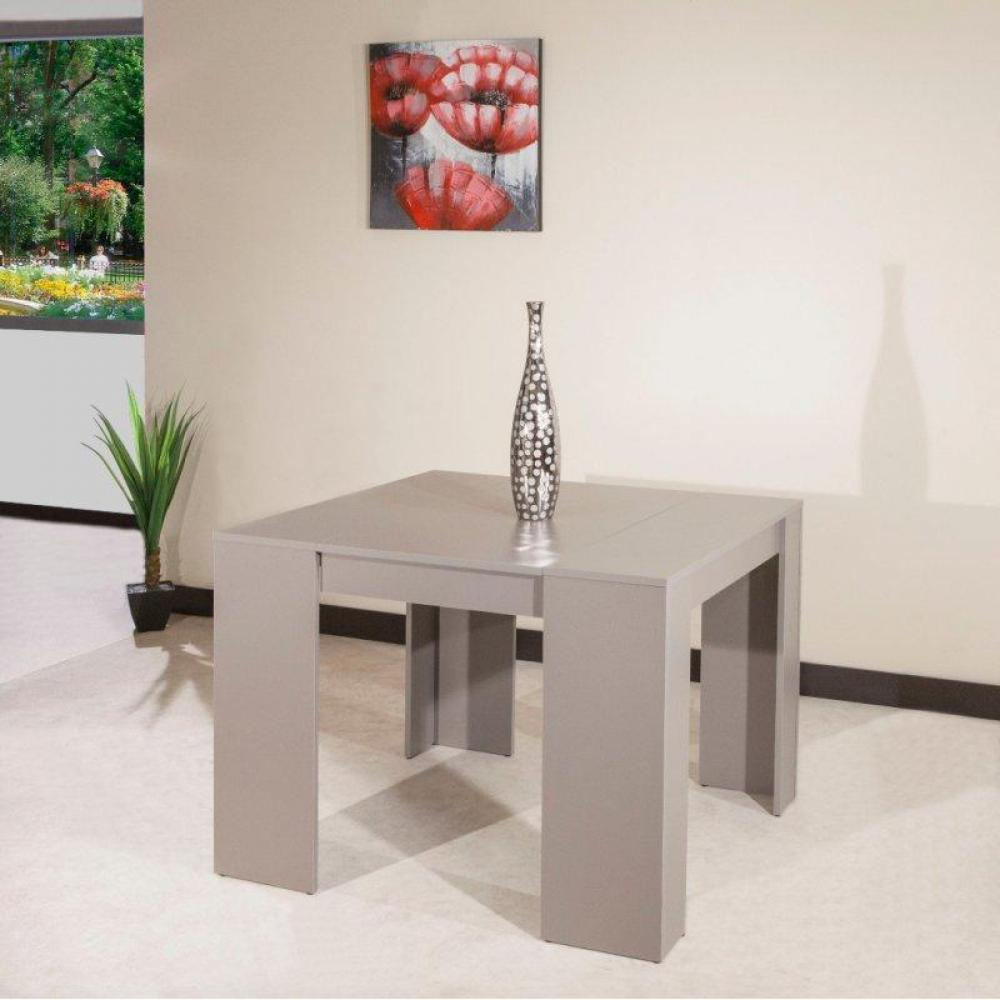 Table console taupe for Table etroite a rallonge