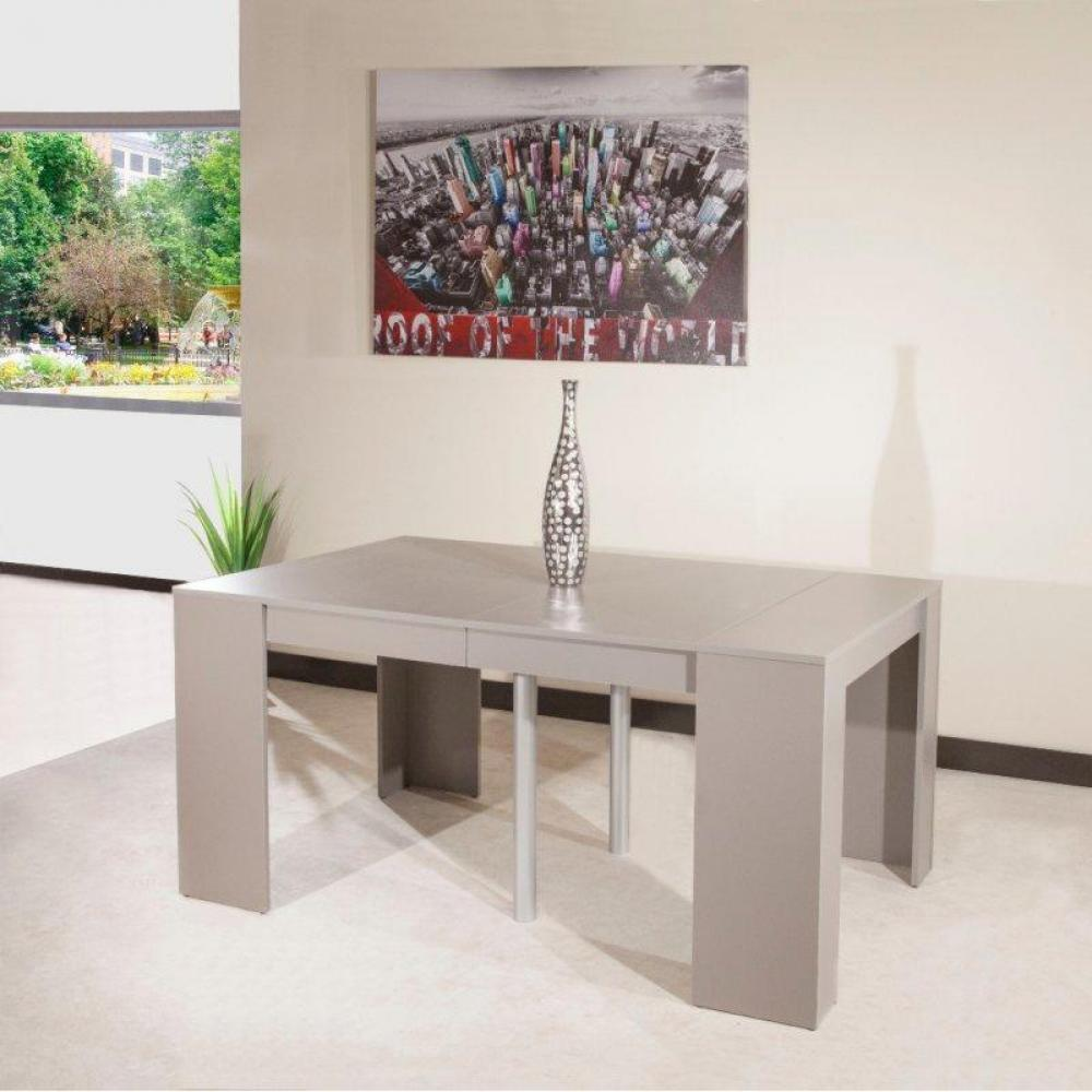Rapido convertibles canap s syst me rapido console elasto taupe mat extensible en table repas - Console extensible taupe ...