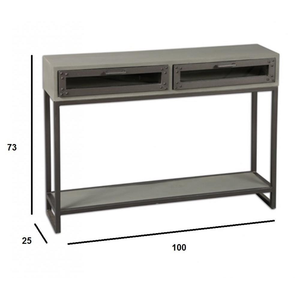 Consoles tables et chaises console industry c rus gris for Table console avec tiroir