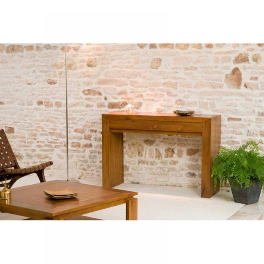 Consoles console moderne style colonial en teck massif - Console style colonial ...