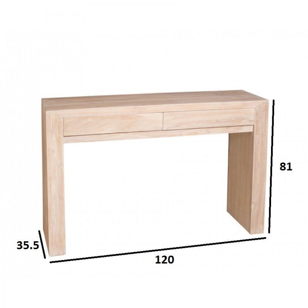 Consoles tables et chaises console moderne 2 tiroirs ines en teck blanchi s - Console style colonial ...