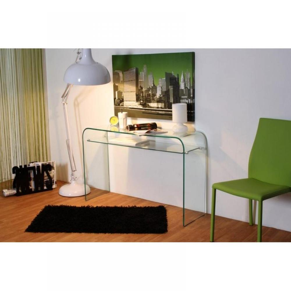 Consoles Meubles Et Rangements Console Design Fixe Side En Verre Tremp Transparent Inside75
