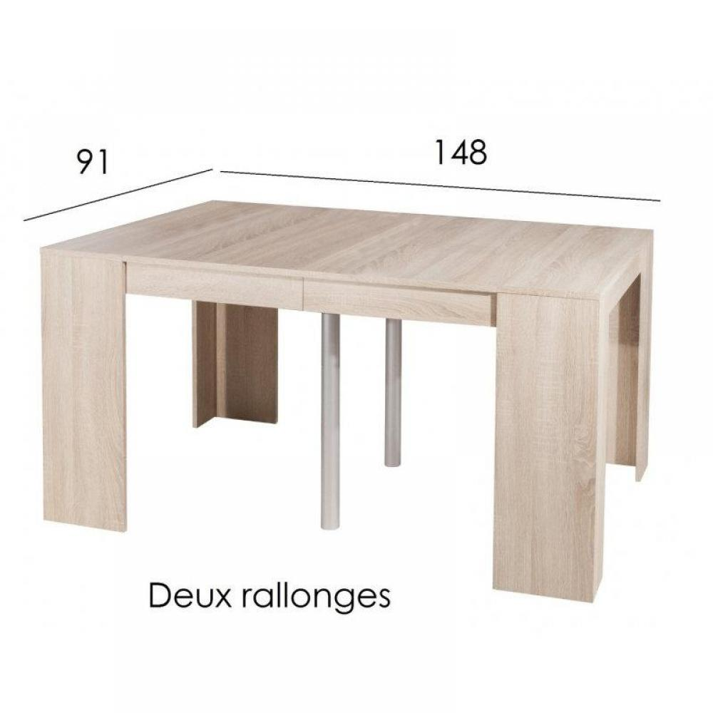 Table en chene clair - Table console extensible chene ...