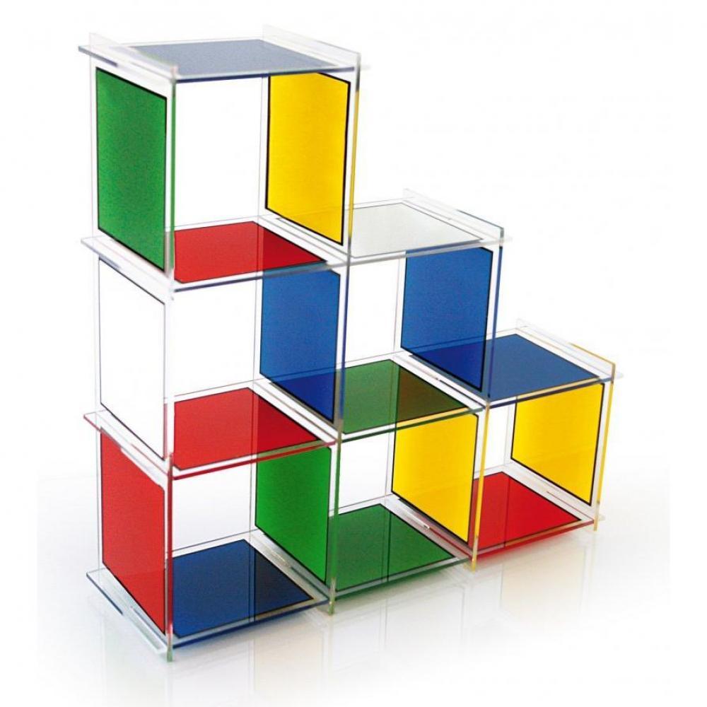 biblioth ques tag res meubles et rangements etag re escalier cube 6 castelbajac plexiglass. Black Bedroom Furniture Sets. Home Design Ideas
