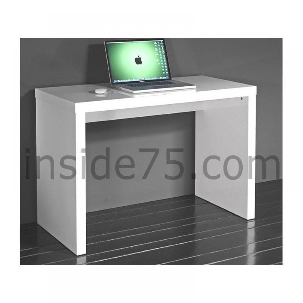 bureaux meubles et rangements cubic bureau laqu blanc brillant inside75. Black Bedroom Furniture Sets. Home Design Ideas