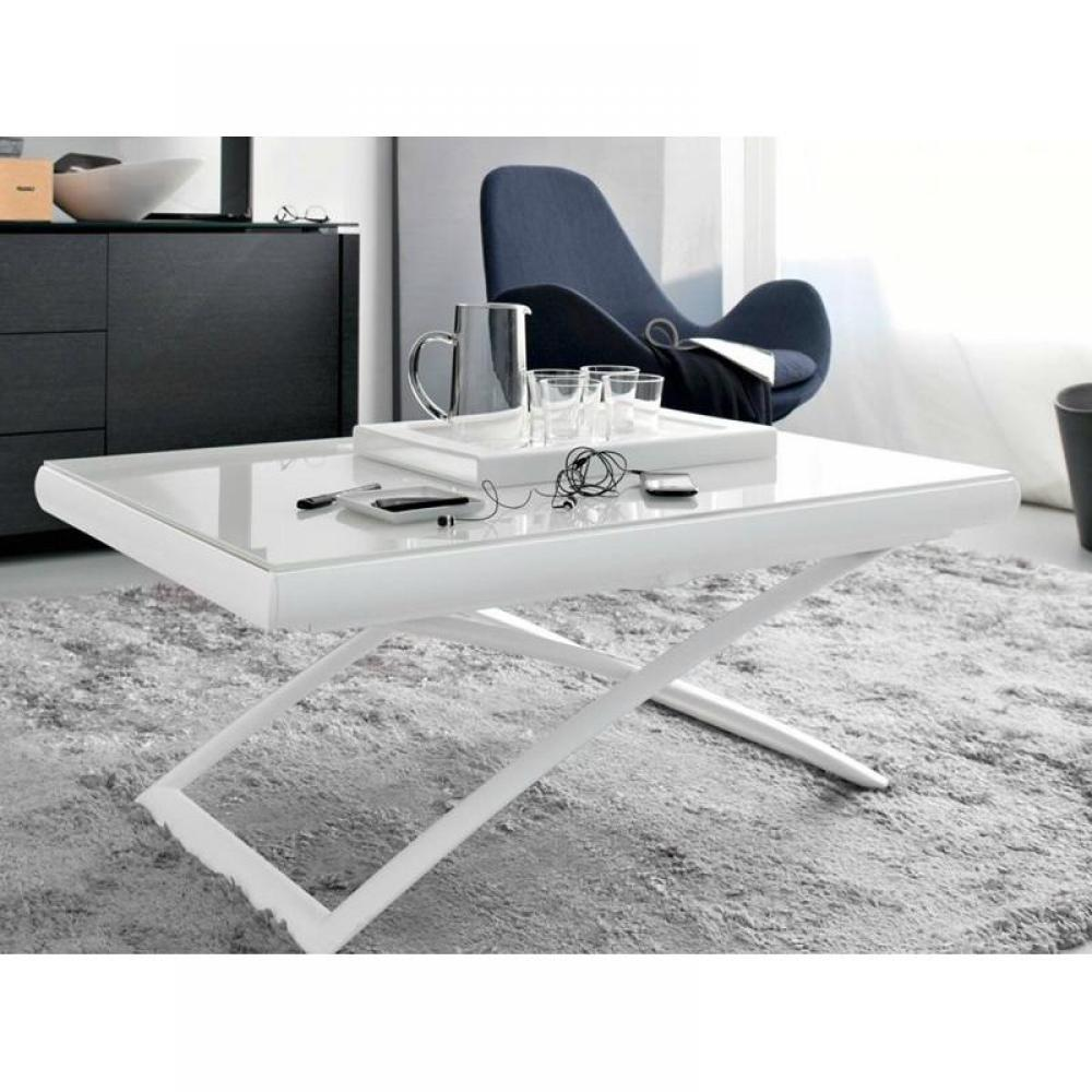 Table relevable verre blanc - Table basse relevable blanc laque ...