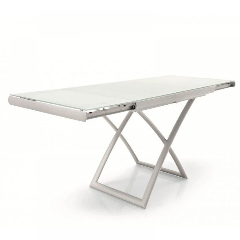 Table basse relevable verre blanc for Table verre blanc extensible