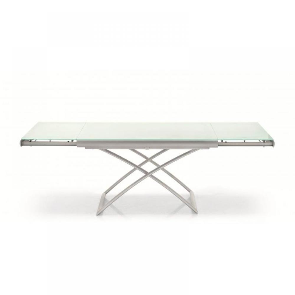 Table basse en verre extensible for Table ronde verre extensible