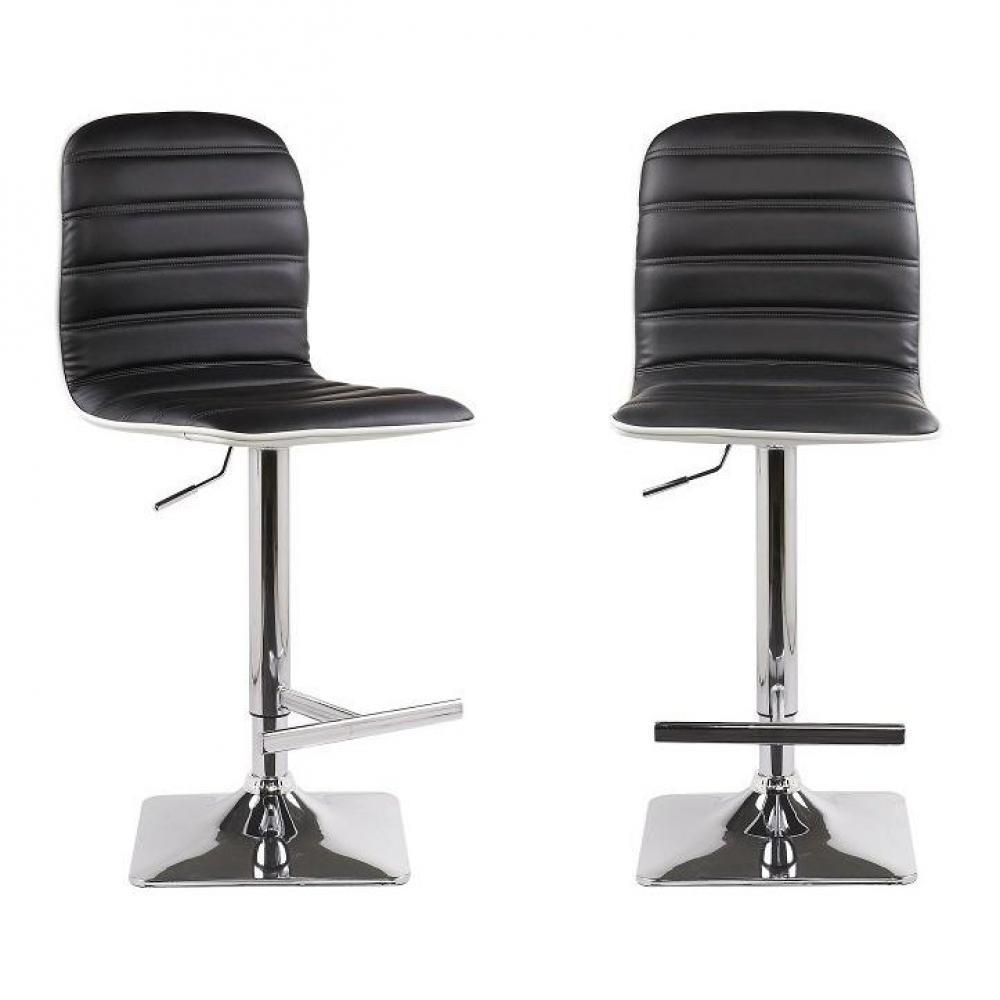 chaises meubles et rangements lot de 2 tabourets chaises de bar reglables dance similicuir noir. Black Bedroom Furniture Sets. Home Design Ideas