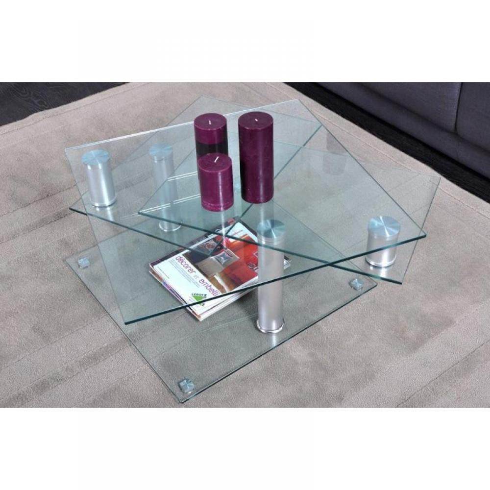 Tables basses tables et chaises diana table basse en verre modulable 4 plat - Table basse en verre habitat ...