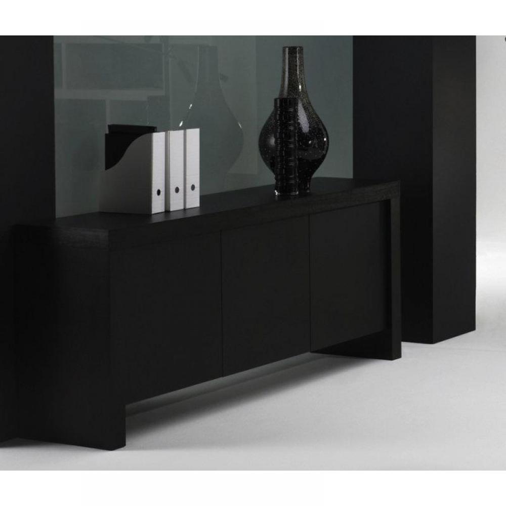 Buffets dock buffet console design laqu noir mat rangements portes - Buffet noir mat ...