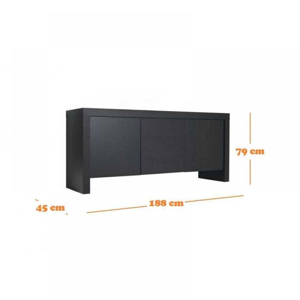 Escaliers canap s et convertibles dock buffet console design laqu noir mat rangements portes - Buffet noir mat ...