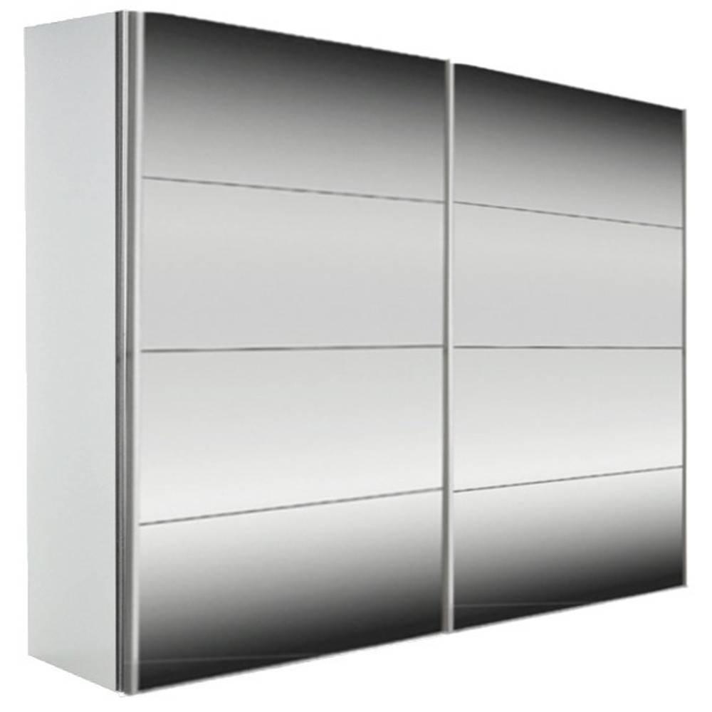 dressings et armoires chambre literie dressing kick 252cm miroir et cadre blanc avec portes. Black Bedroom Furniture Sets. Home Design Ideas
