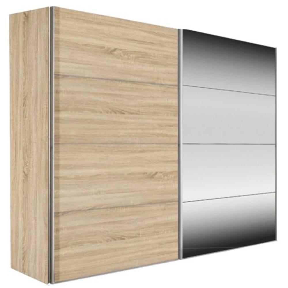Dressing kick 252cm avec chene et miroir avec portes coulissantes ebay - Armoire dressing portes coulissantes miroir ...