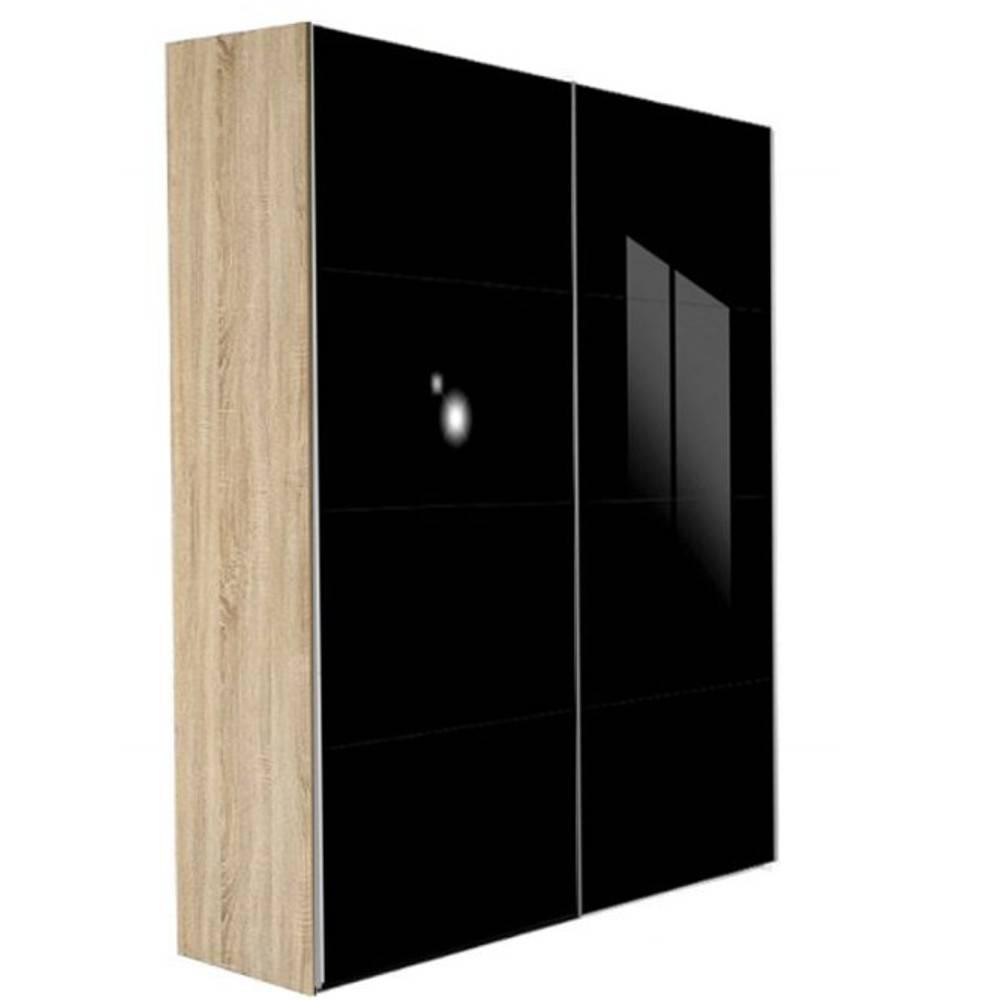 Dressing kick 152cm en verre noir brillant avec cadre chene et portes ebay - Armoire coulissante noir ...