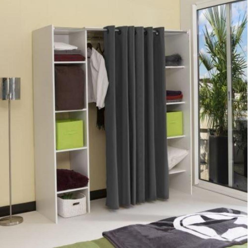 dressings et armoires chambre literie dressing extensible chica 2 colonnes blanc et rideau. Black Bedroom Furniture Sets. Home Design Ideas