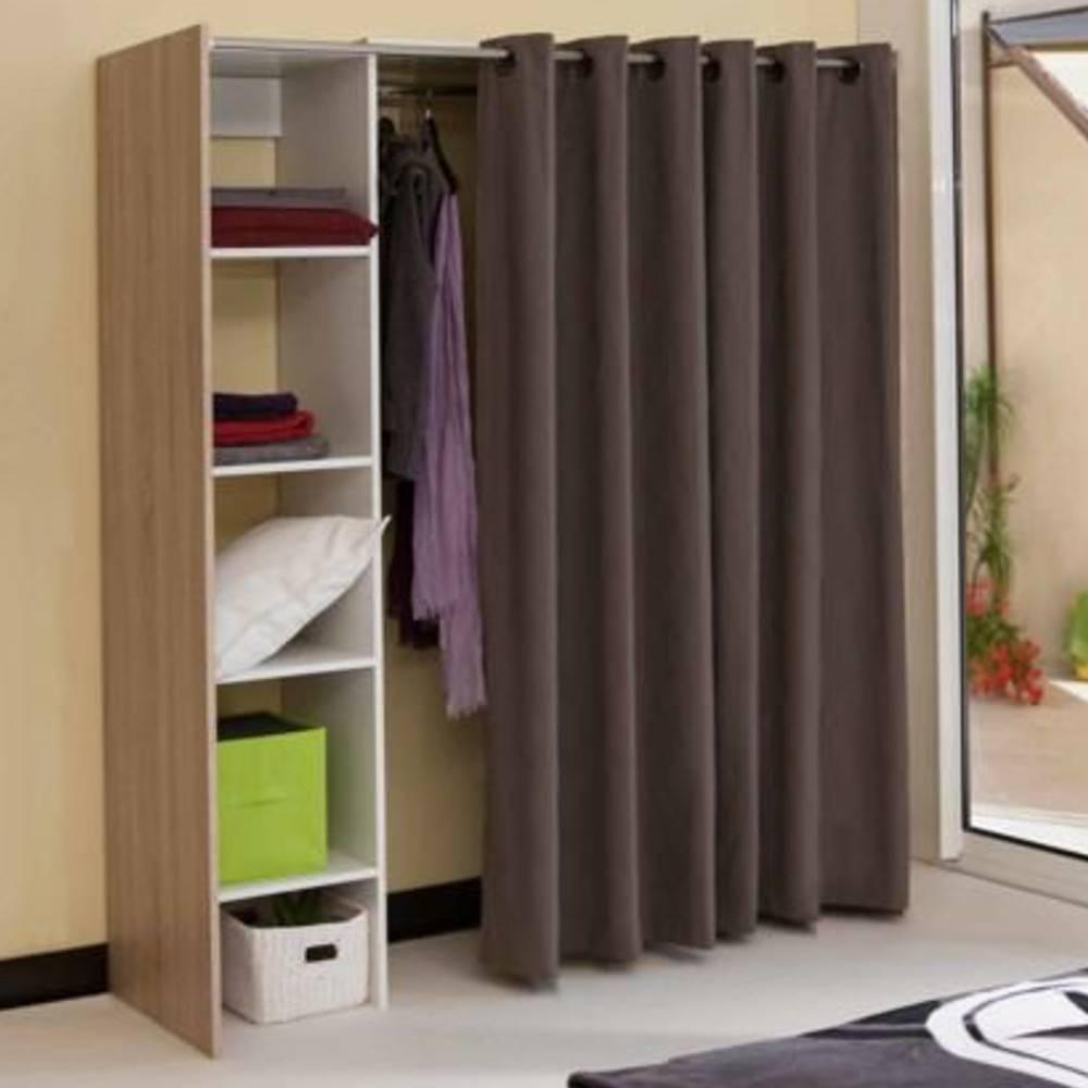 dressings et armoires chambre literie dressing extensible chica 2 colonnes ch ne et rideau. Black Bedroom Furniture Sets. Home Design Ideas