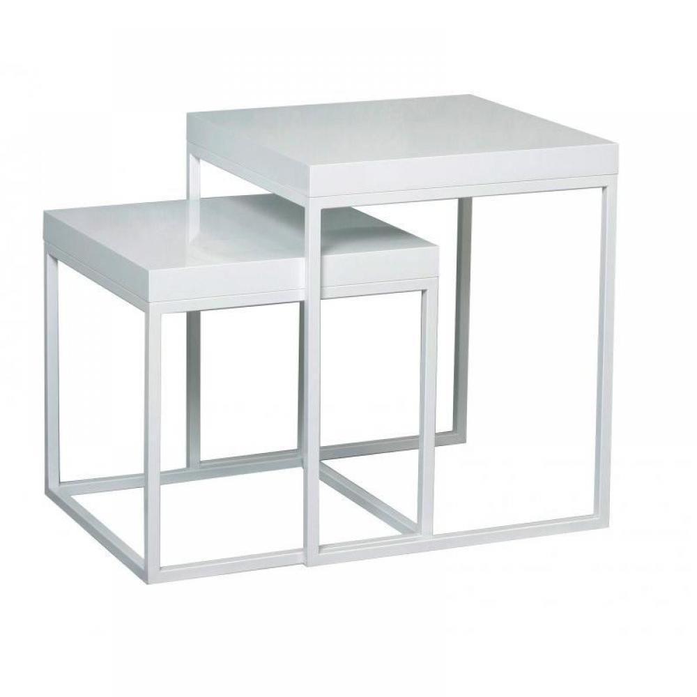 Tables basses, tables et chaises, lot de 2 tables gigognes DUKE laquées blanc -> Table Gigogne Blanche