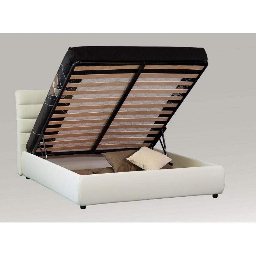 Lits coffres chambre literie lit coffre design elisabetha couchage 1 - Lit coffre 1 personne ...