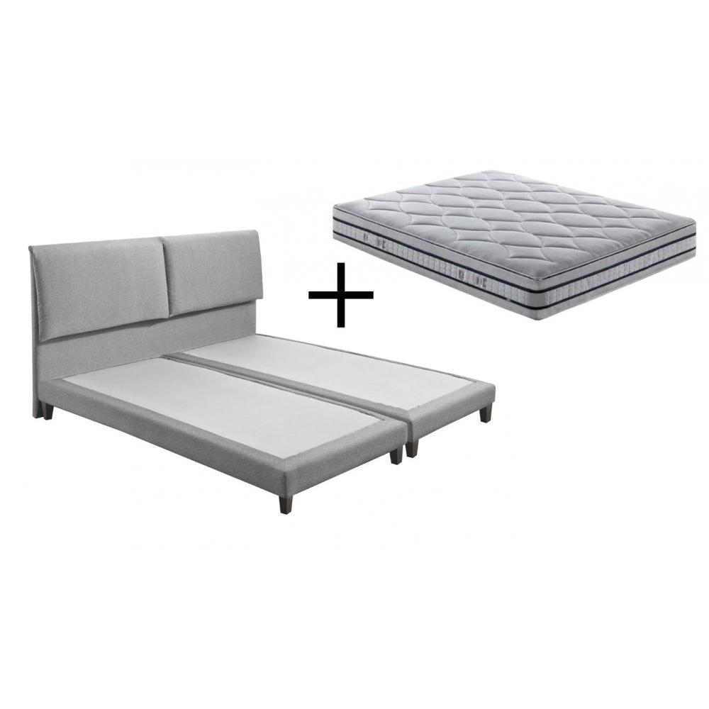 ensemble matelas sommiers chambre literie ensemble de lit vendome en tweed gris silex. Black Bedroom Furniture Sets. Home Design Ideas