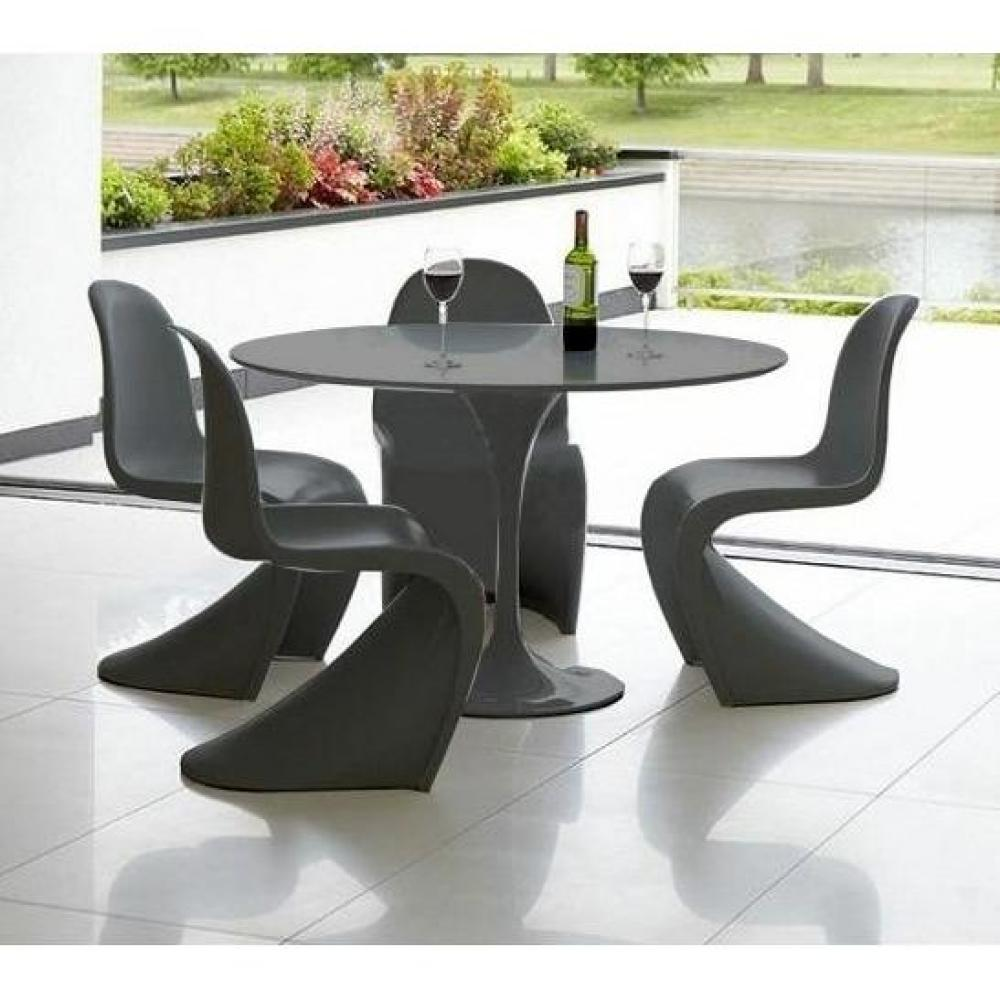 ensemble table repas tulipe 90cm noire 4 chaises slash noires ebay. Black Bedroom Furniture Sets. Home Design Ideas