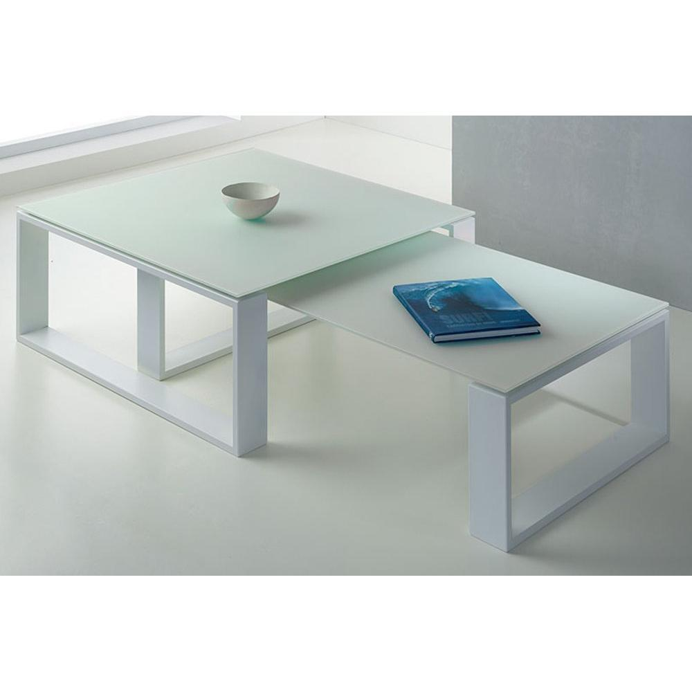 Tables basses tables et chaises ensemble 2 tables basses - Table basse verre et blanc ...