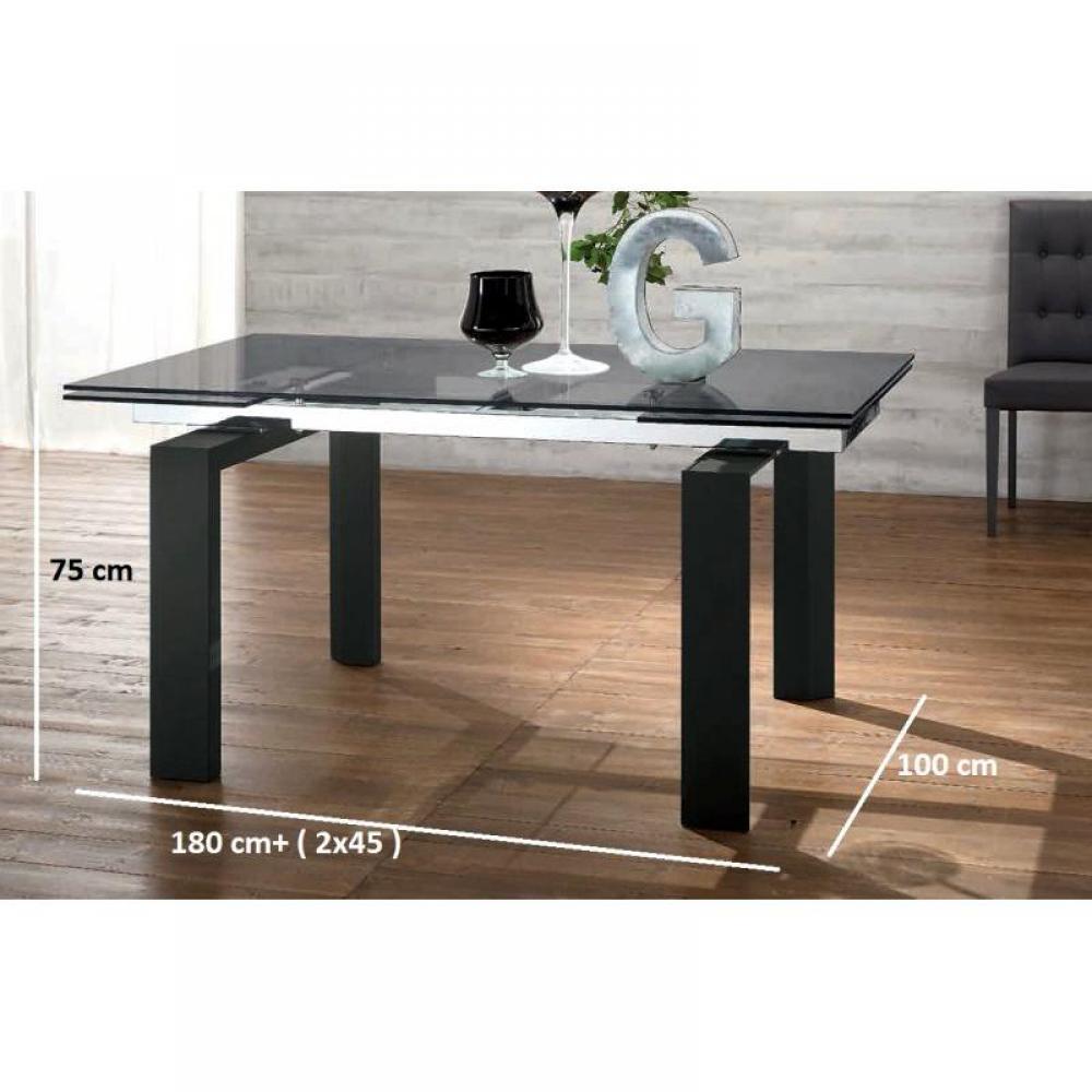 Tables repas tables et chaises table repas extensible en for Table verre noir extensible