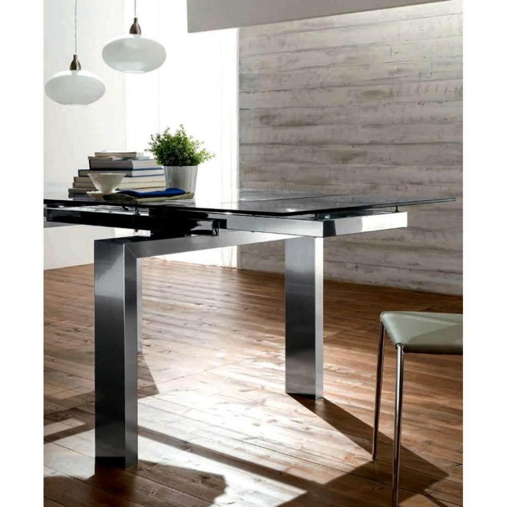 tables repas tables et chaises epsylon table repas extensible plateau en verre pi tement en. Black Bedroom Furniture Sets. Home Design Ideas