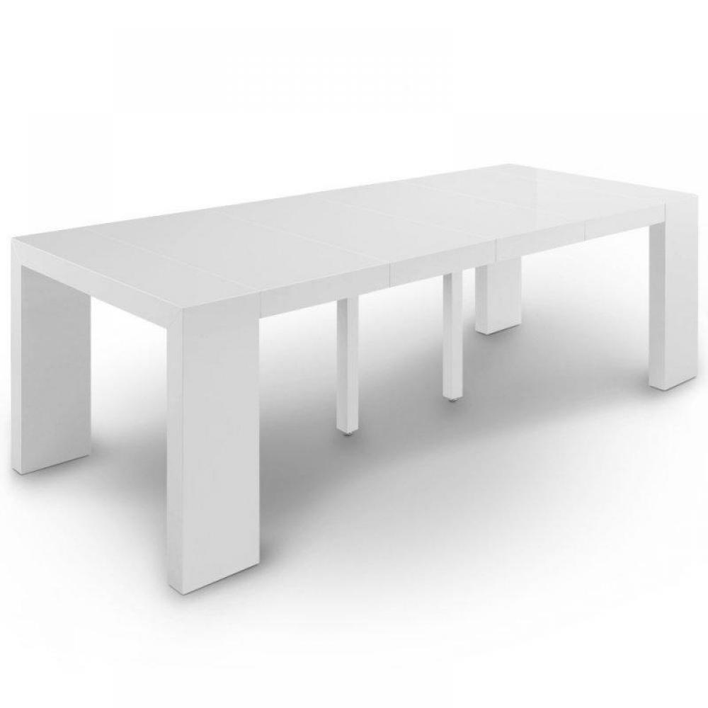 Buffets meubles et rangements console table extensible for Table blanc laquee carree extensible