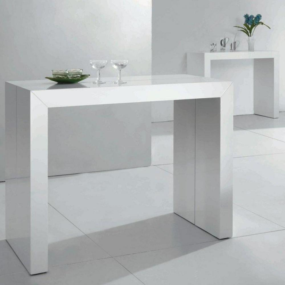 Consoles extensibles meubles et rangements console table for Table ronde laquee blanc extensible
