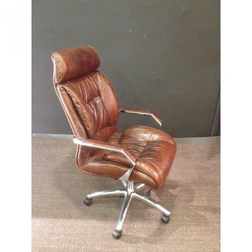 bureaux tables et chaises chaise de bureau vintage en cuir marron inside75. Black Bedroom Furniture Sets. Home Design Ideas